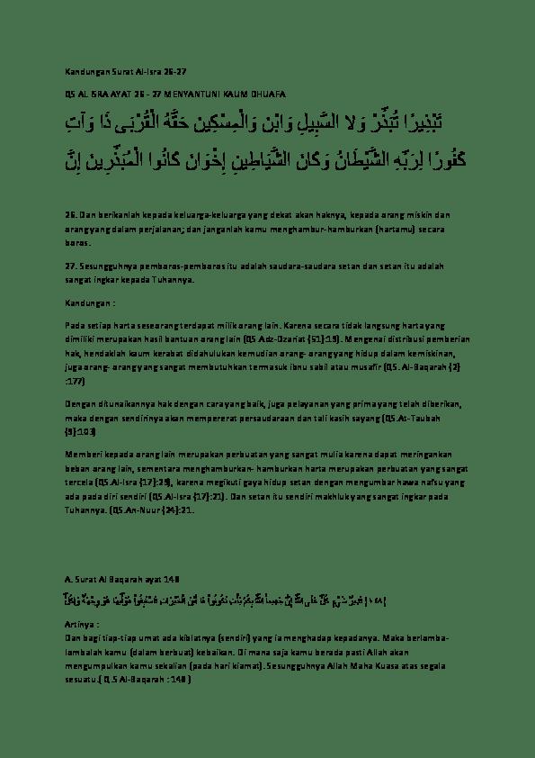 Al Isra Ayat 26-27 : 26-27, Kandungan, Surat, Al-Isra, MENYANTUNI, DHUAFA, ا, ِﻳﺮ, ﺬ, َﺒ, ﺗ, �ر, ُﺒ, ﻻ, Tansri, Academia.edu