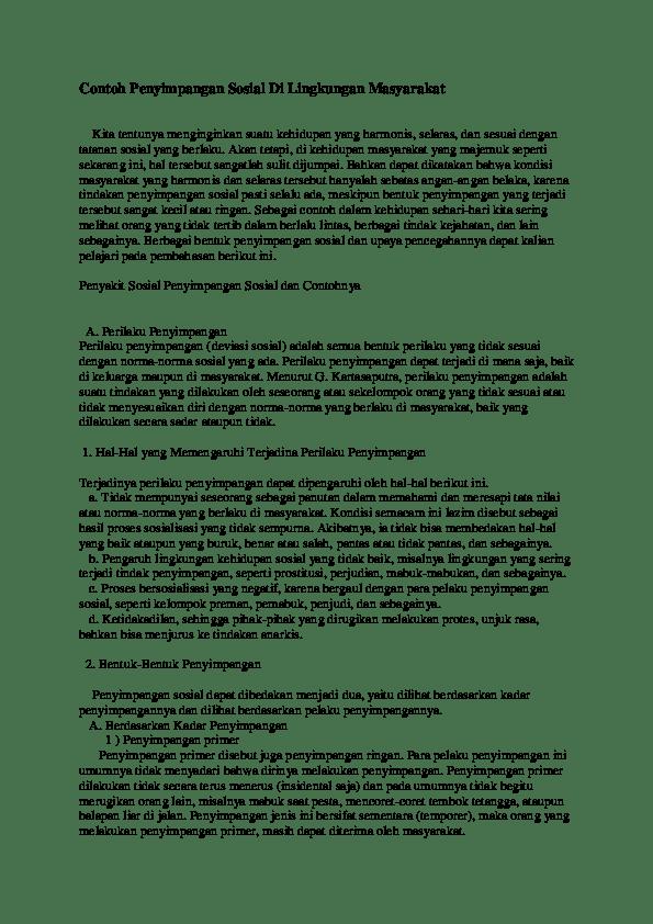 Contoh Penyimpangan Positif : contoh, penyimpangan, positif, Contoh, Penyimpangan, Sosial, Lingkungan, Masyarakat, Vickardin, Leonda, Academia.edu