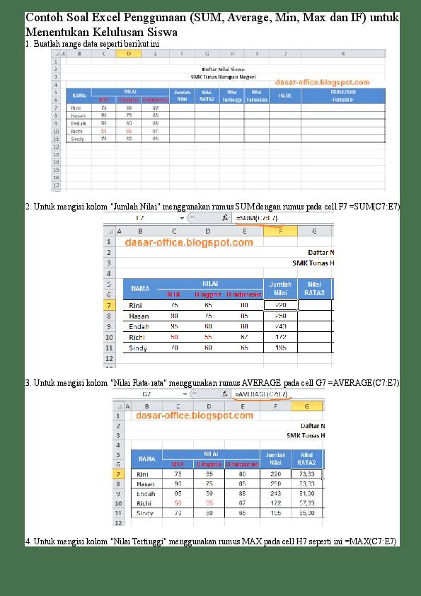 Soal Excel Dasar : excel, dasar, Contoh, Excel, Pemula, Kumpulan, Pelajaran