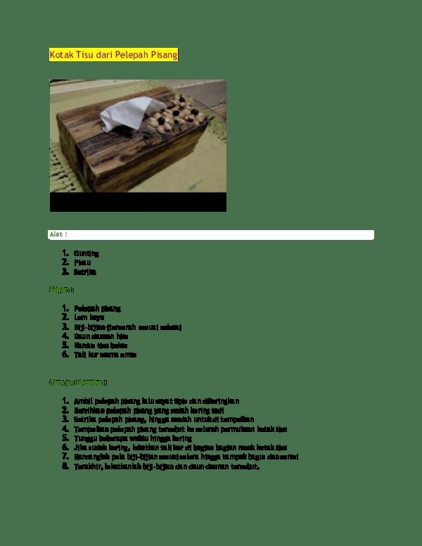 Kotak Tisu Dari Pelepah Pisang : kotak, pelepah, pisang, Kotak, Pelepah, Pisang, Elina, Thahir, Academia.edu
