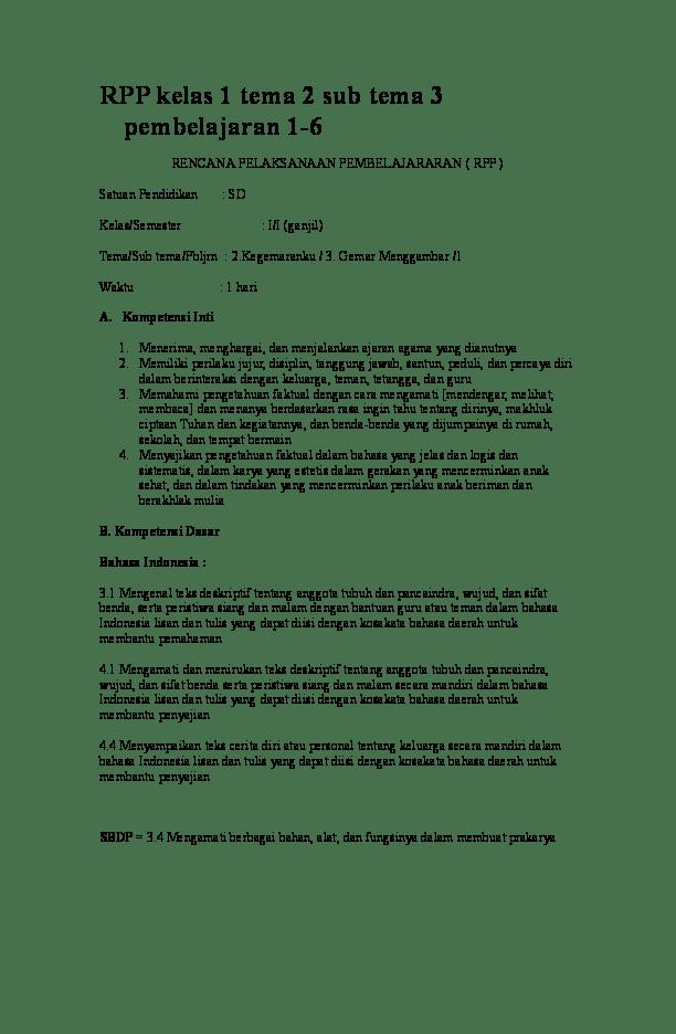 Rpp Kelas 1 Tema 3 : kelas, Kelas, Pembelajaran, Academia.edu