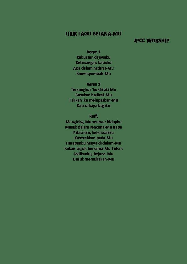 Lirik Mengejar Hadirmu : lirik, mengejar, hadirmu, Lirik, Bejanamu, Worship, Arsia