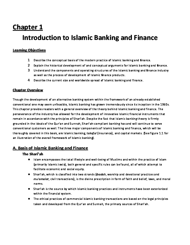 (PDF) Chapter 1 Introduction to Islamic Banking and Finance Learning Objectives A. Basis of Islamic Banking and Finance   pam u - Academia.edu