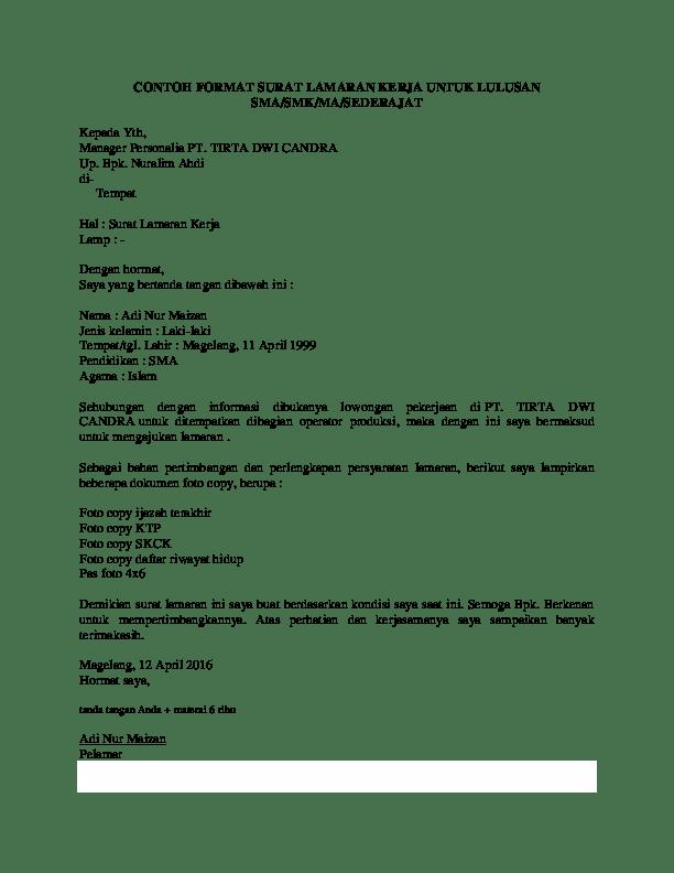Contoh Surat Lamaran Kerja Untuk Lulusan Sma Sederajat Bacanulis Cute766