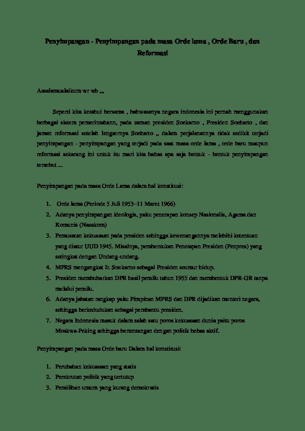 5 Penyimpangan Pada Masa Orde Baru | Freedomsiana