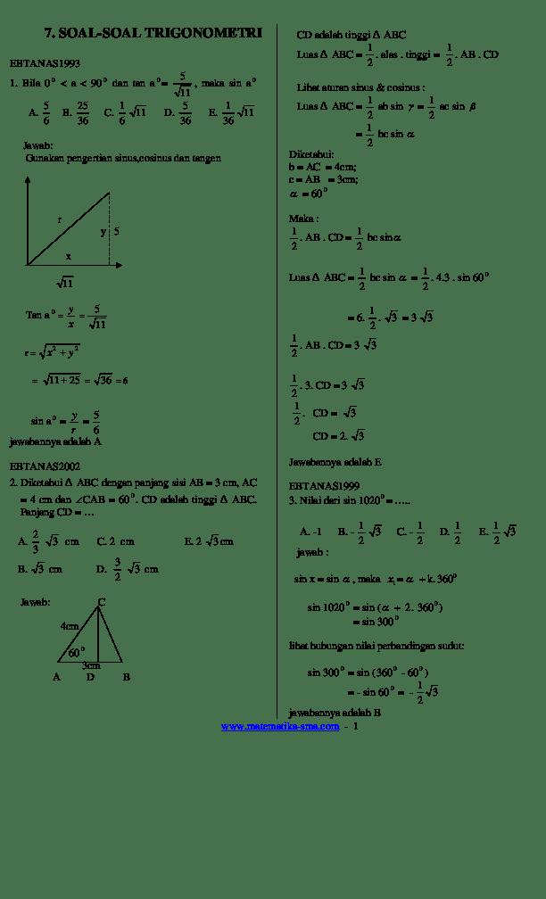 Contoh Soal Trigonometeri Kelas 10 [+ Cara dan...] - Primalangga
