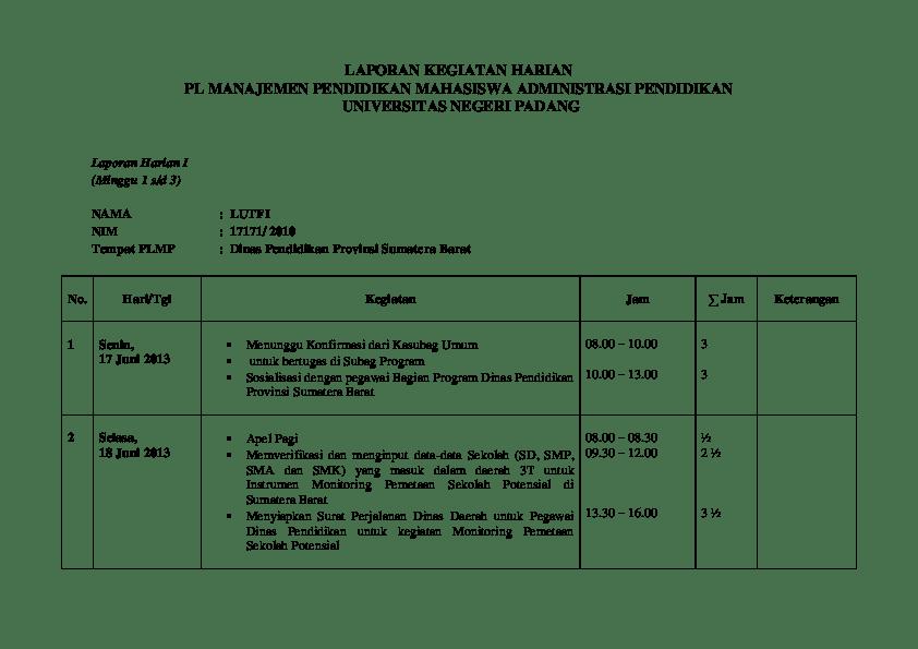 Contoh Laporan Kerja Bulanan Karyawan Aneka Contoh Cute766