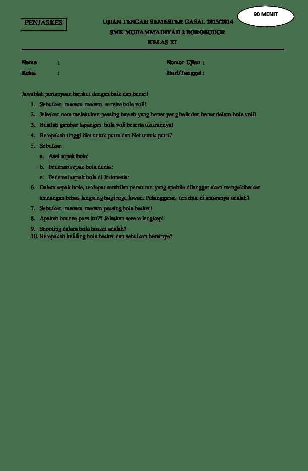 Soal Penjas Kelas 11 : penjas, kelas, Contoh, Penjas, Kelas, Deddy-De, Angelo, Academia.edu