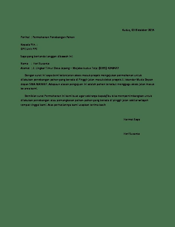 Penebangan Contoh Surat Permohonan Tebang Pokok
