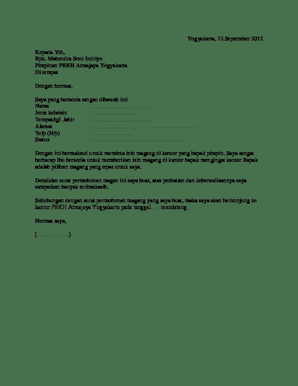 Contoh Surat Permohonan Magang Pribadi : contoh, surat, permohonan, magang, pribadi, Surat, Permohonan, Magang