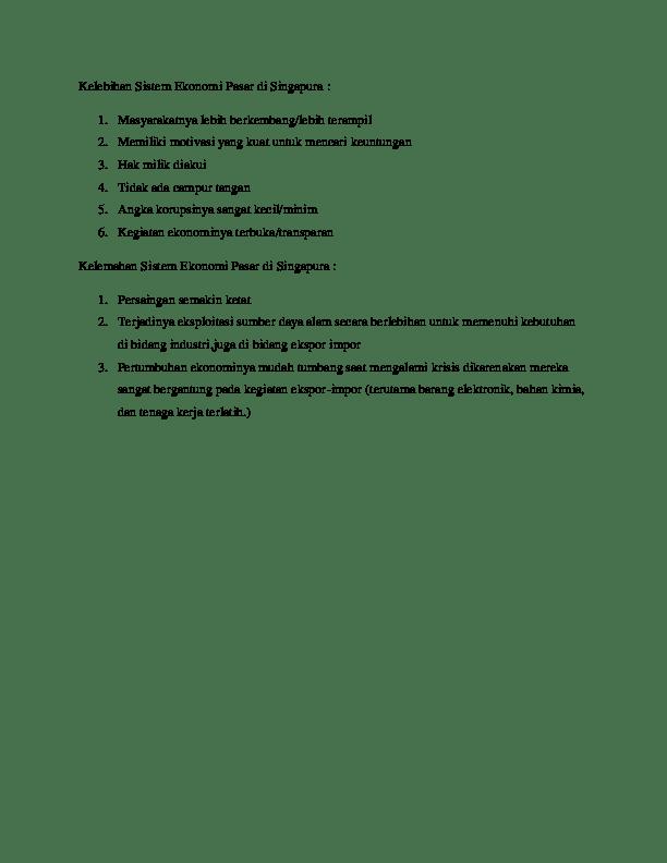 Tugas 1 : Kelebihan dan Kekurangan Sistem Ekonomi