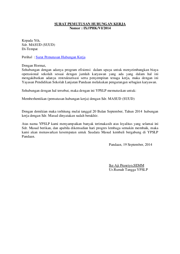 Surat Pemutusan Kontrak : surat, pemutusan, kontrak, SURAT, PEMUTUSAN, HUBUNGAN, KERJA, Prasetya, Academia.edu