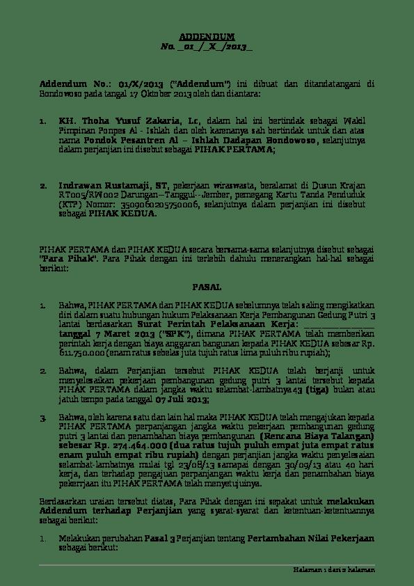 Doc Contoh Addendum Novitri Sulistia Academia Edu
