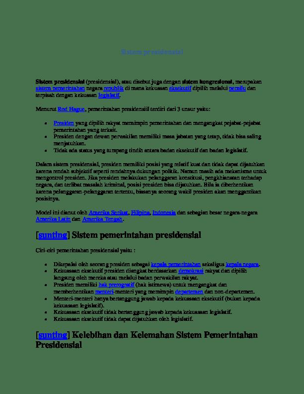 Kelebihan Dan Kelemahan Sistem Pemerintahan Presidensial : kelebihan, kelemahan, sistem, pemerintahan, presidensial, Sistem, Presidensial, Maruli, Simalango, Academia.edu