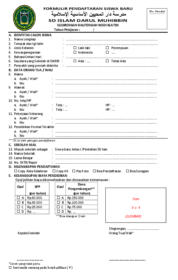 Contoh Formulir Pendaftaran Sekolah : contoh, formulir, pendaftaran, sekolah, Formulir, Pendaftaran, Siswa, Adnan, Bisri, Academia.edu
