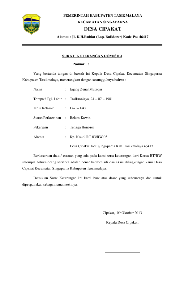 Contoh Surat Domisili Rt : contoh, surat, domisili, Surat, Domisili, Jajang, Academia.edu