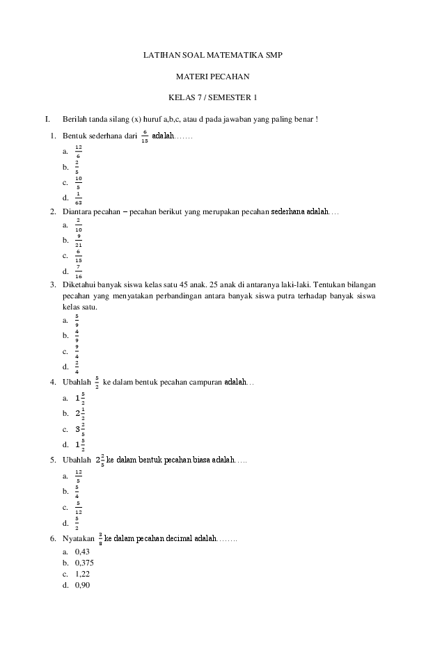 Soal Bilangan Bulat Smp Kelas 7 Doc : bilangan, bulat, kelas, Matematika, Bilangan, Bulat, Pecahan, Kelas, Kunci, Dunia