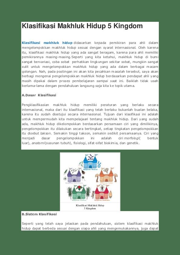 Klasifikasi Makhluk Hidup 5 Kingdom : klasifikasi, makhluk, hidup, kingdom, Klasifikasi, Makhluk, Hidup, Kingdom, Wiswa, Fahardisa, Academia.edu