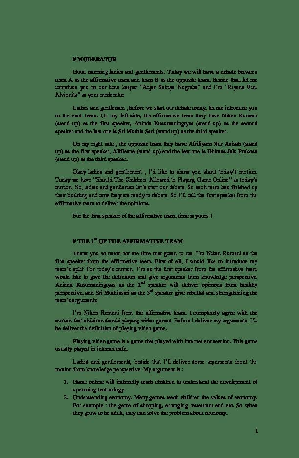 Teks Moderator Debat : moderator, debat, Debat, Bahasa, Inggris, Kontra, Game