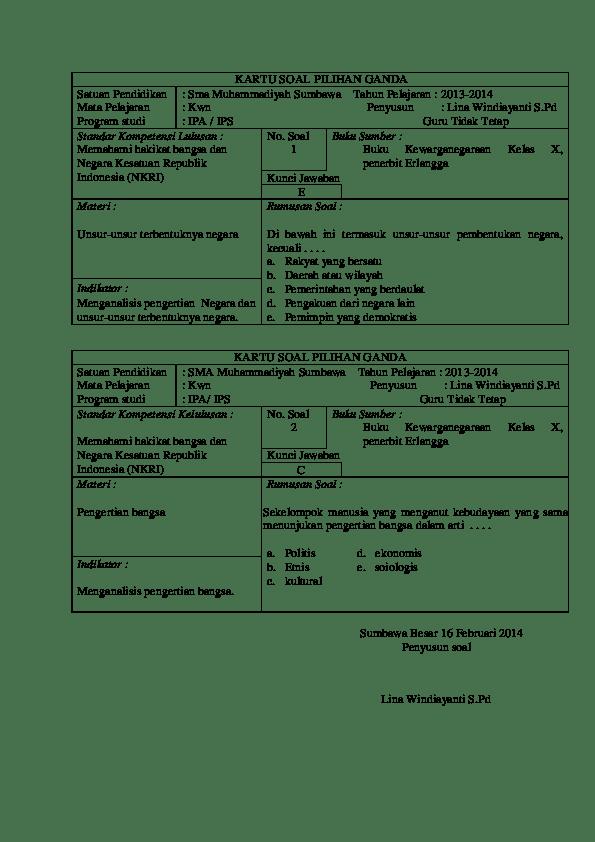 Contoh Kartu Soal : contoh, kartu, Kartu, Bahasa, Indonesia, Kelas, Berbagi
