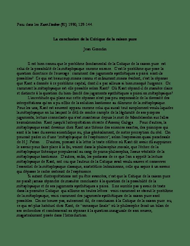 Critique De La Raison Pure Pdf : critique, raison, Conclusion, Critique, Raison, Grondin, Academia.edu