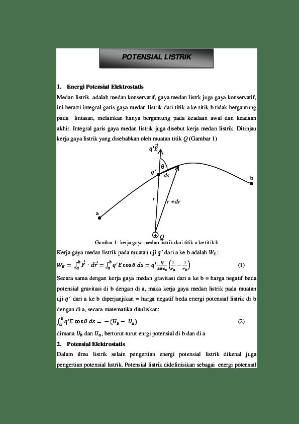 Contoh Soal Potensial Listrik : contoh, potensial, listrik, Potensial, Elektrostatis, Mutiara, Academia.edu