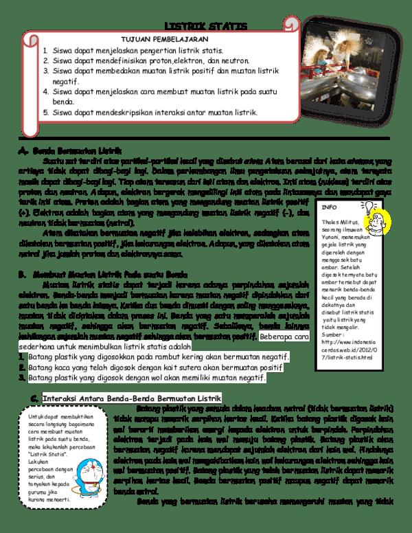 Cara Membuat Benda Bermuatan Listrik : membuat, benda, bermuatan, listrik, Handout, Lisrik, Statis, Mutiara, Academia.edu