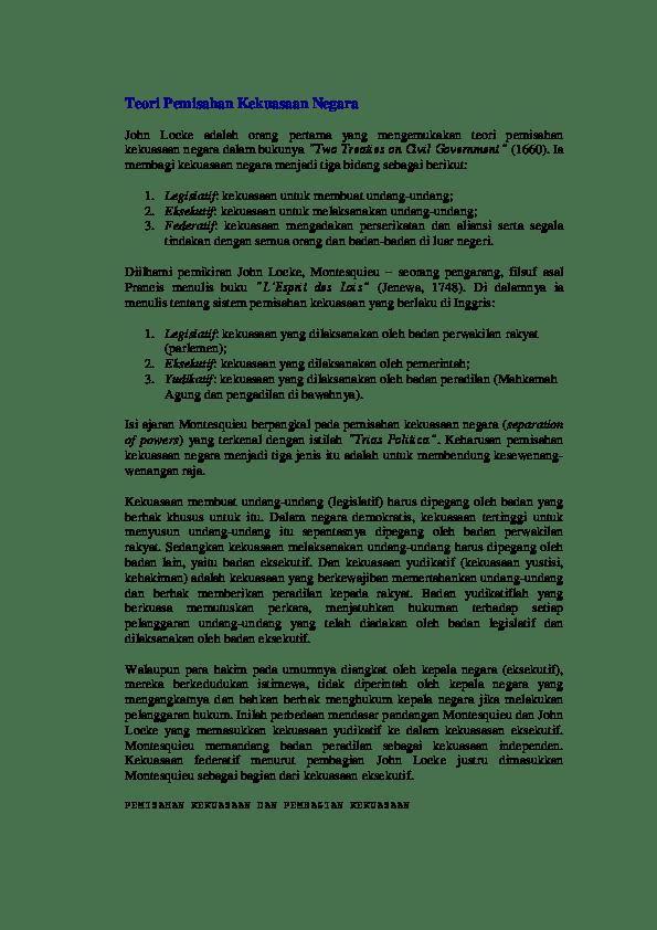 Teori Kekuasaan Menurut Montesquieu : teori, kekuasaan, menurut, montesquieu, Teori, Pemisahan, Kekuasaan, Negara, Simangunsong, Academia.edu