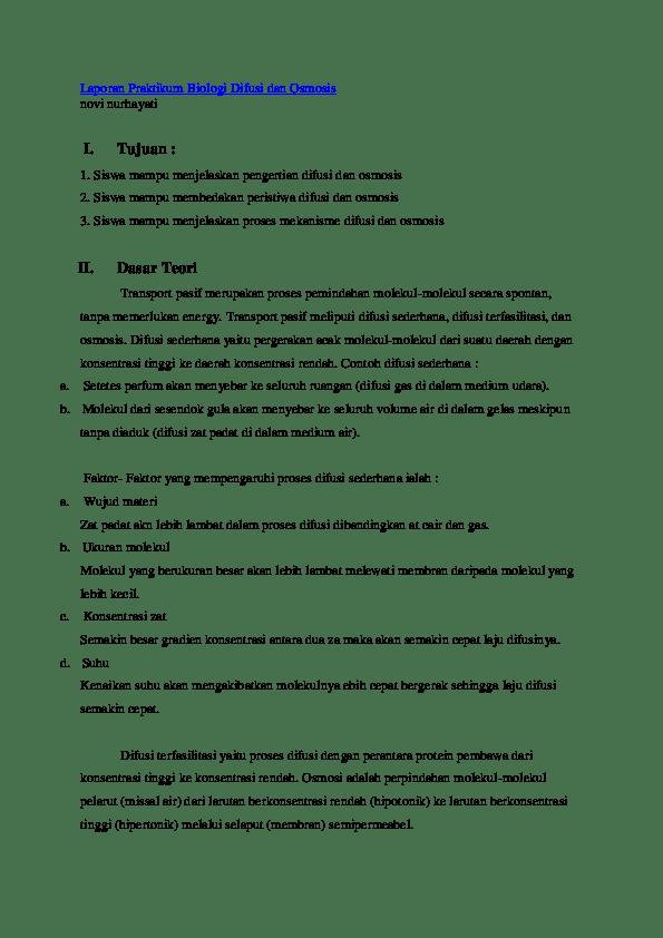 Laporan Praktikum Difusi Dan Osmosis : laporan, praktikum, difusi, osmosis, Laporan, Percobaan, Osmosis, Difusi
