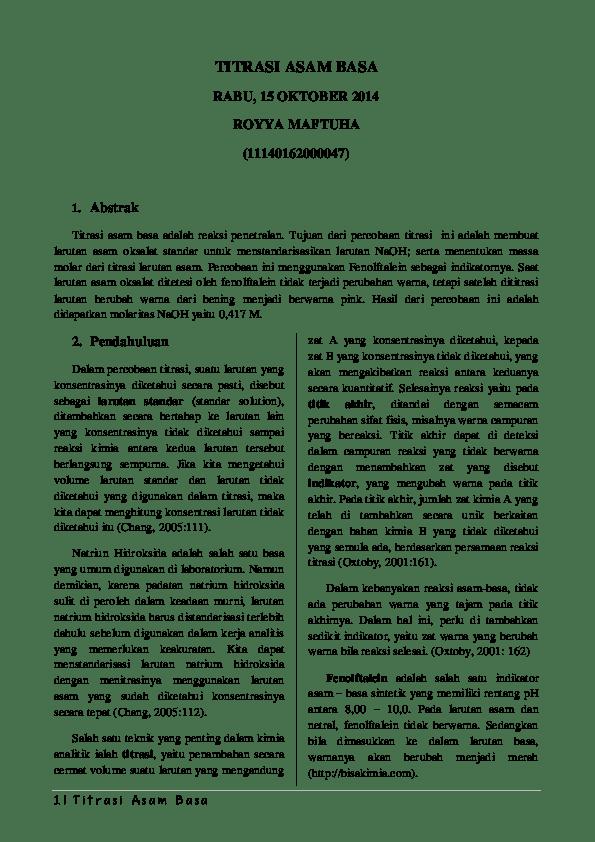 Titrasi Asam Basa Pdf : titrasi, Laporan, Titrasi, Royya, Maftuha, Academia.edu