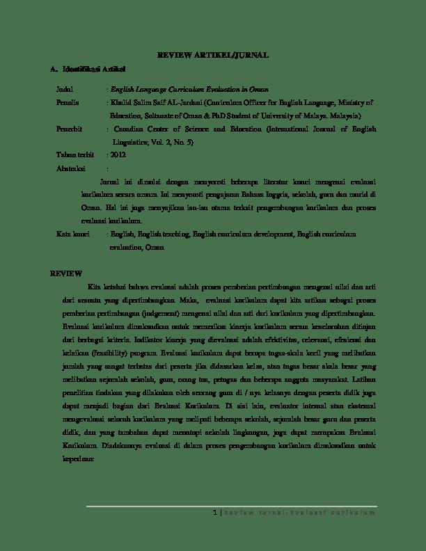 Contoh Review Artikel : contoh, review, artikel, REVIEW, ARTIKEL/JURNAL, Identifikasi, Artikel, Judul, English, Language, Curriculum, Evaluation, Penulis:, Khalid, Salim, AL-Jardani, (Curriculum, Officer, Astari, Fitri, Putrisyani, Academia.edu