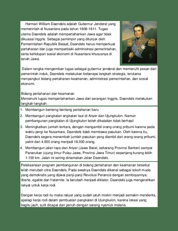 Tugas Utama Daendels : tugas, utama, daendels, Herman, William, Daendels, Adalah, Gubernur, Jenderal, Memerintah, Nusantara, Tahun, Susanto, Academia.edu