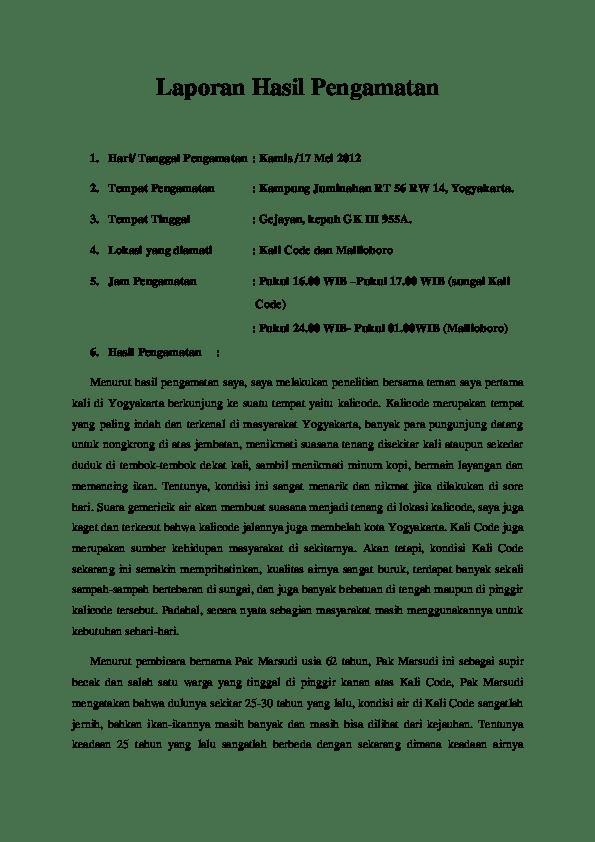 Contoh Laporan Hasil Pengamatan Lingkungan Sekolah Kumpulan Contoh Laporan Cute766