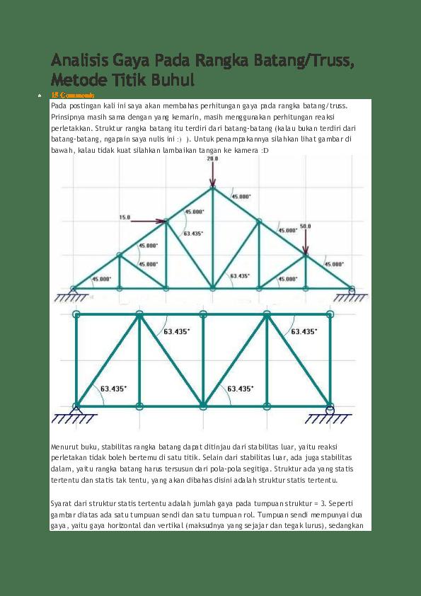 Metode Titik Buhul : metode, titik, buhul, Analisis, Rangka, Batang, Candra, Academia.edu