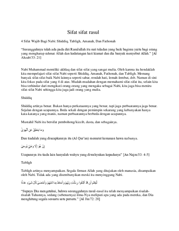 4 Sifat Wajib Rasul : sifat, wajib, rasul, Sifat, Rasul, Kilua, Academia.edu
