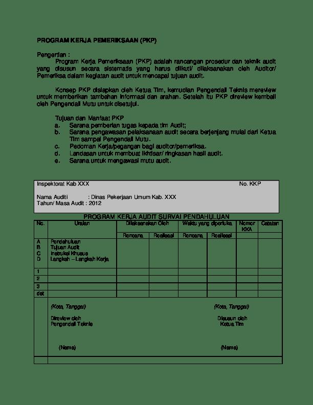 Contoh Kertas Kerja Audit Bpkp : contoh, kertas, kerja, audit, Contoh, Program, Kerja, Audit, Kinerja
