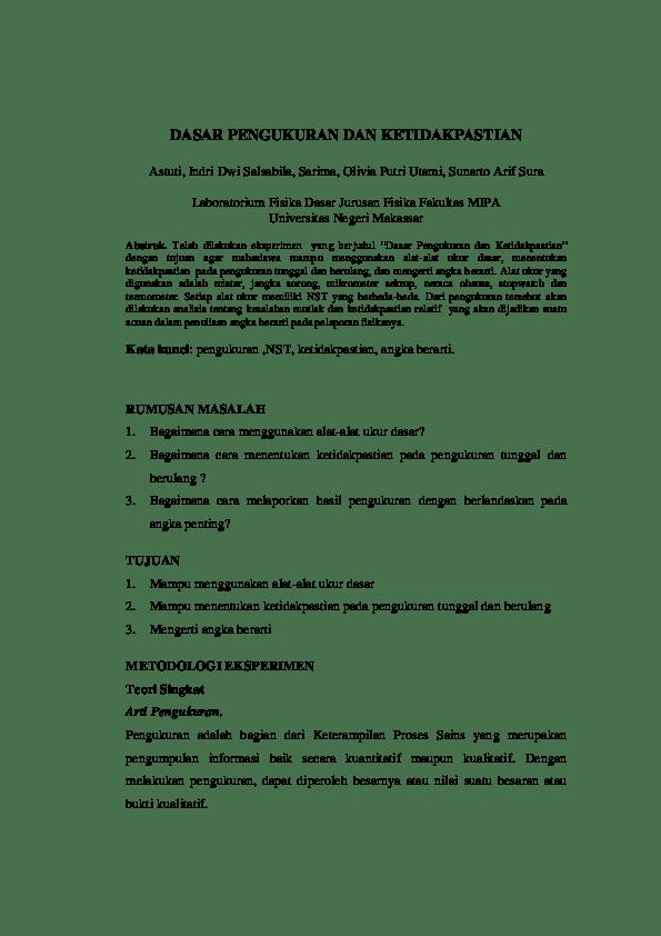 Teori Dasar Pengukuran Dan Ketidakpastian : teori, dasar, pengukuran, ketidakpastian, Contoh, Laporan, Dasar, Pengukuran, Ketidakpastian, Cute766