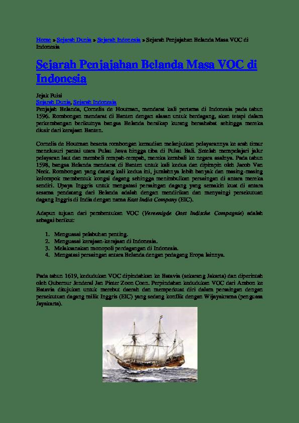 Tujuan Voc Di Indonesia : tujuan, indonesia, Alasan, Bangkrutnya