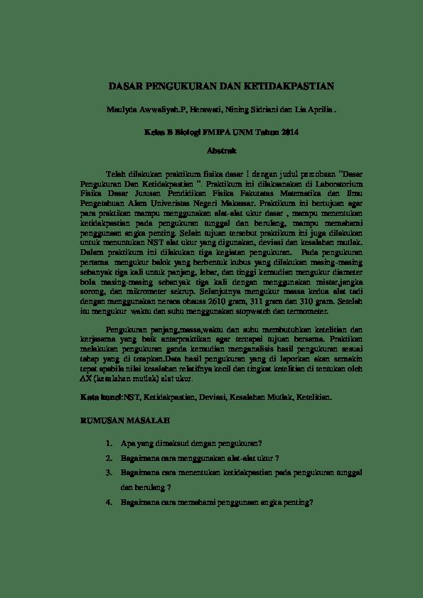 Teori Dasar Pengukuran Dan Ketidakpastian : teori, dasar, pengukuran, ketidakpastian, Dasar, Pengukuran, Ketidakpastian, Maulyda, Awwaliyah, Academia.edu