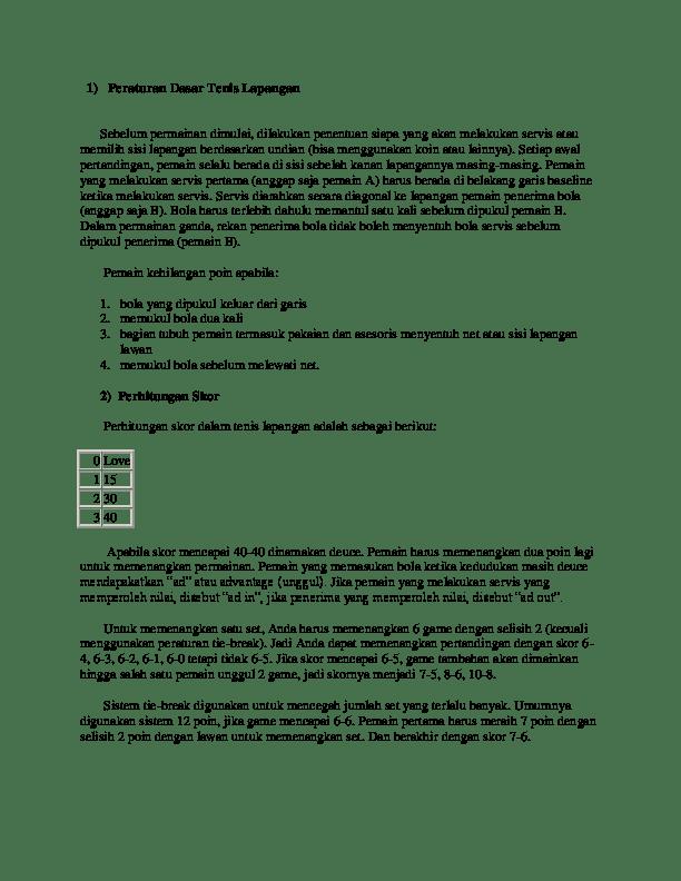 Tenis Lapangan: Sejarah, Teknik dan Peraturannya