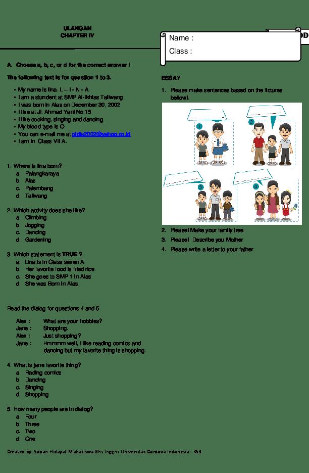 Bank Soal Bahasa Inggris Smp Kelas 7 Dan Kunci Jawaban : bahasa, inggris, kelas, kunci, jawaban, Contoh, Bahasa, Inggris, Kelas, (Chapter, Sopan, Hidayat, Academia.edu