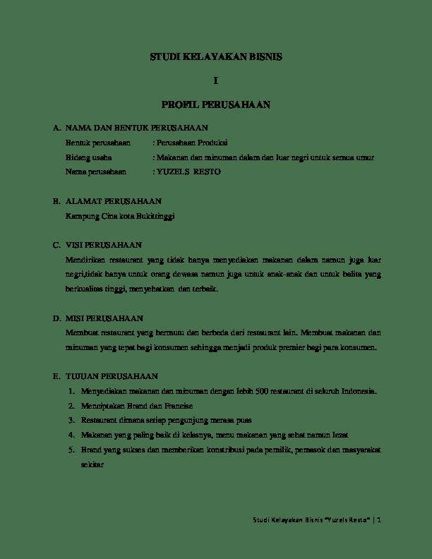 Contoh Laporan Bisnis Kuliner : contoh, laporan, bisnis, kuliner, Contoh, Makalah, Studi, Kelayakan, Bisnis, Restoran, Barisan