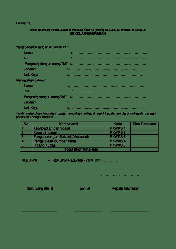 Format Penilaian Kinerja Guru Doc : format, penilaian, kinerja, Format, INSTRUMEN, PENILAIAN, KINERJA, (PKG), SEBAGAI, WAKIL, KEPALA, SEKOLAH/, MADRASAH, Taris, Academia.edu