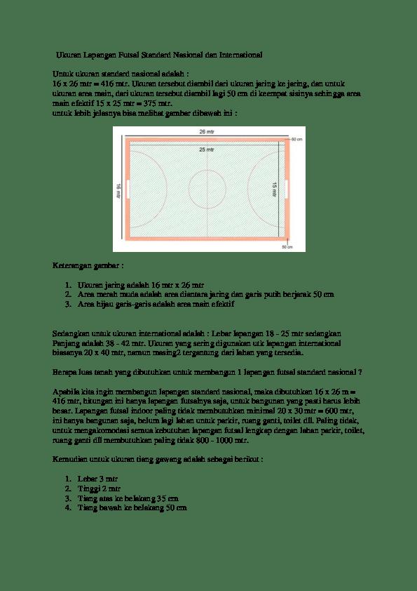 Ukuran dan pengecatan Standar Lapangan Futsal   AdYarTo