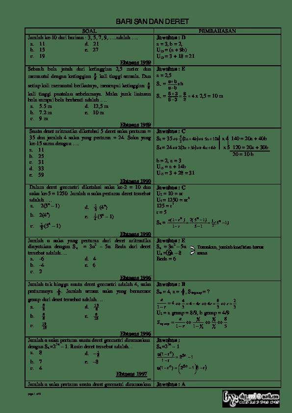 Soal Dan Pembahasan Barisan Dan Deret : pembahasan, barisan, deret, Contoh, Pembahasan, Barisan, Deret, Aritmatika, Geometri, IlmuSosial.id
