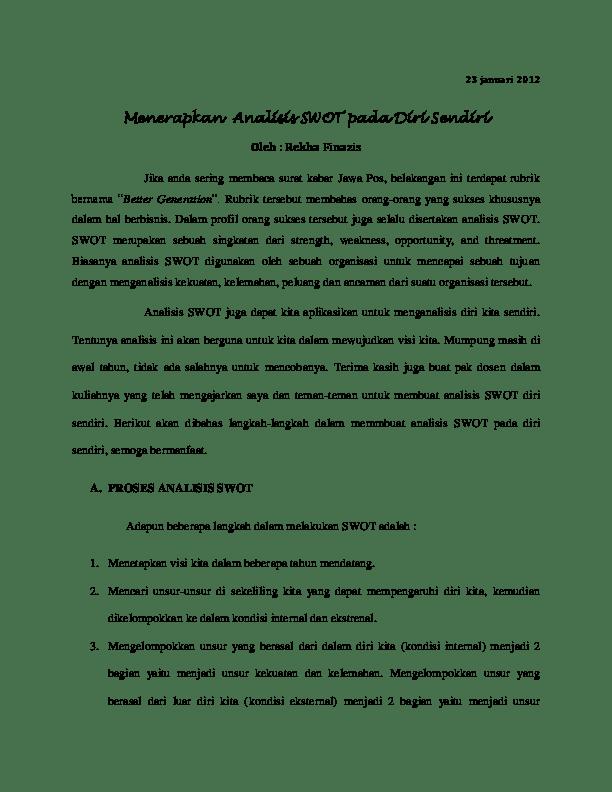 Swot Diri Sendiri : sendiri, Menerapkan, Analisis, Sendiri, Wahyono, Academia.edu