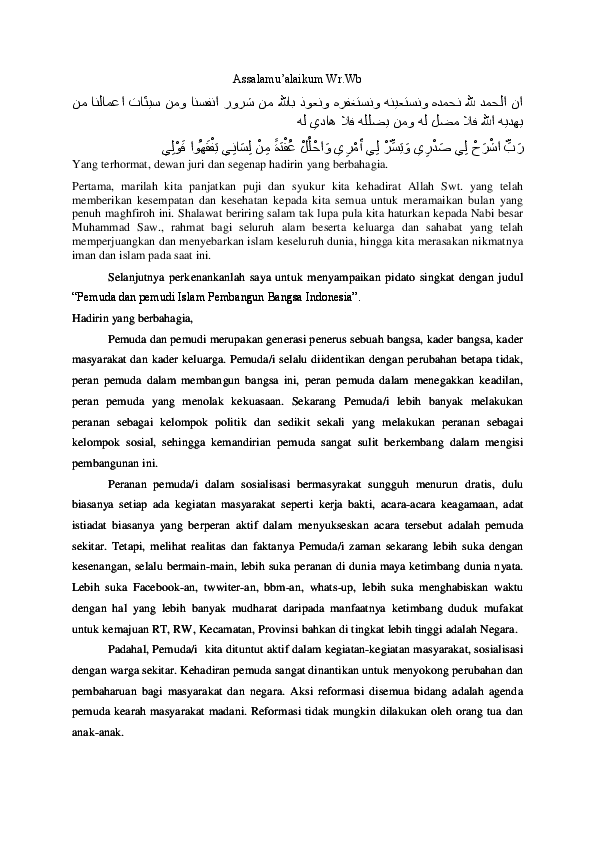 Pidato Pada Intinya Adalah : pidato, intinya, adalah, Pidato, Peran, Pemuda, Chichi, 'Aisyatud, Da'watiz, Zahroh, Academia.edu