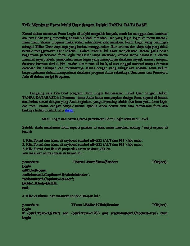 Membuat Login Multi User Dengan Codeigniter : membuat, login, multi, dengan, codeigniter, Membuat, Login, Akses, Dengan, Delphi