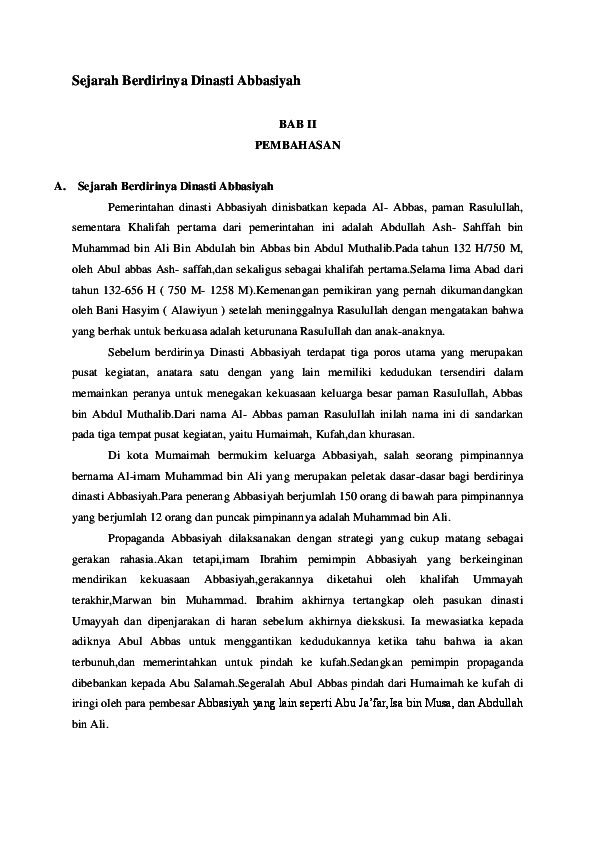 Proses Berdirinya Dinasti Abbasiyah : proses, berdirinya, dinasti, abbasiyah, Sejarah, Berdirinya, Dinasti, Abbasiyah, Teguh, Prasetyo, Academia.edu