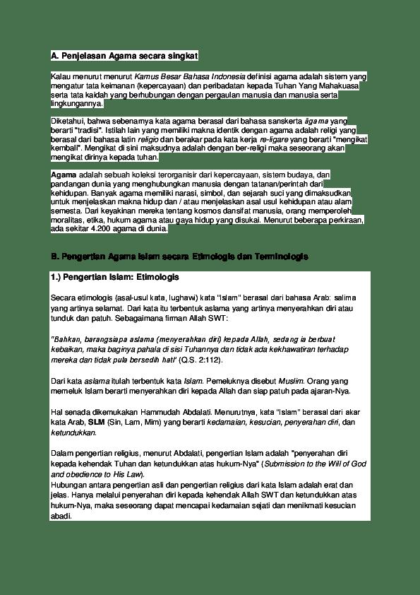 Jelaskan Pengertian Agama Baik Secara Etimologis Maupun Secara Terminologis? : jelaskan, pengertian, agama, secara, etimologis, maupun, terminologis?, Penjelasan, Agama, Secara, Singkat, Yurista, Academia.edu